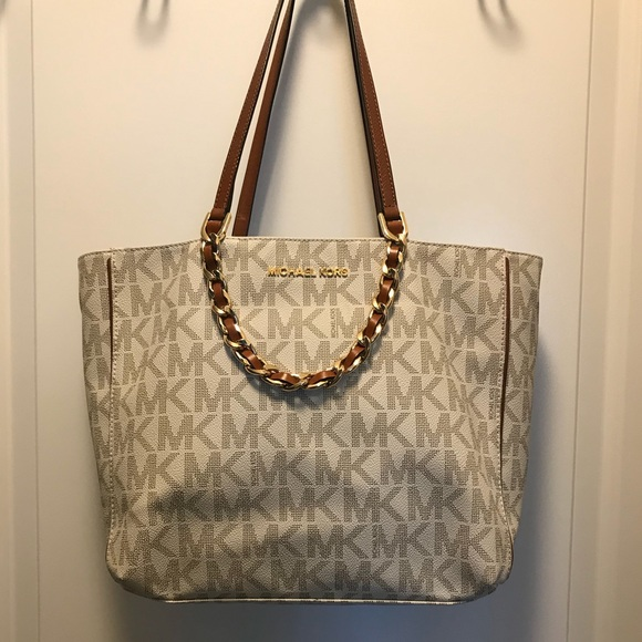 Michael Kors Bags   Mk Cream Brown Tote With Gold Chain   Poshmark fd4b939486